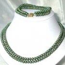 """9K 17""""""""-18"""""""" 6-7mm green pearl necklace bracelet set"""