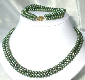 "9K 17""""-18"""" 6-7mm green pearl necklace bracelet set"