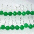 Wholesale 10 pairs AAA12mm green jade-S925 earrings
