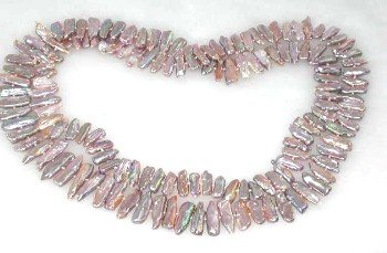 "35"""" 5*20mm lavender biwa pearl necklace"
