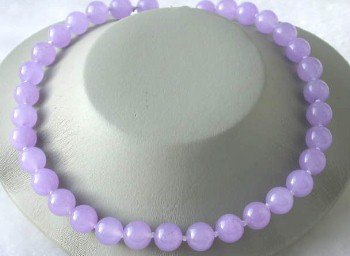 "Beauty 17"""" 12mm lavender round jade necklace"