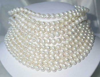 "Wholesale 10 pcs. 17"""" 7-8mm white pearl necklace"
