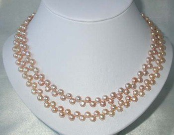 "17"""" double 6-7mm pink pearl necklace"