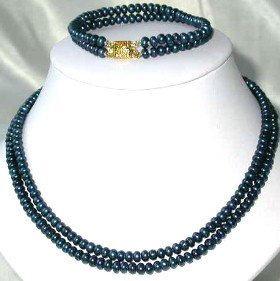 "17""""-18"""" 5-6mm dark blue pearl necklace bracelet set"