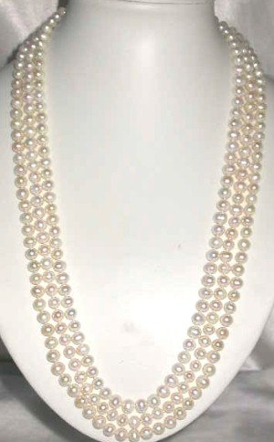 "Brand New A genuine 84"""" 7-8mm white pearl necklace"