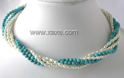 "17"""" Five rows white pearl blue turquoise necklace"
