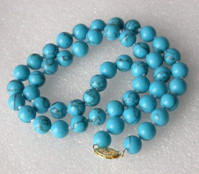 "17"""" 8mm blue turquoise round beads necklace"