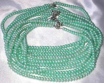 "Wholesale 5 pcs 16"""" 6-7mm light green pearl necklace"