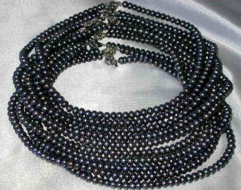 "Wholesale 5 pcs 16"""" 6-7mm black pearl necklace"