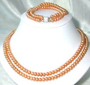 "17""""-18"""" 6-7mm jacinth pearl necklace bracelet set"
