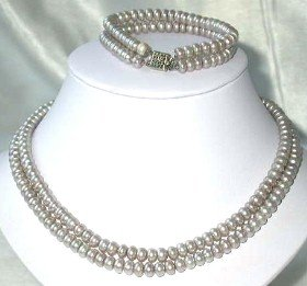 "17""""-18"""" 6-7mm gray pearl necklace bracelet set"