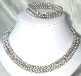 "17""""-18"""" 6-7mm gray pearl necklace bracelet set"