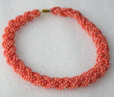 "9k 16"""" 6-strands pink round coral knotted necklace"