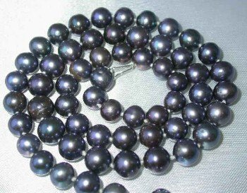 "17"""" lustrous 7-8mm black pearl necklace"