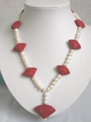 "Graceful!18""""7mm white FW Pearl & red cinnabar necklace"