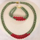 """16""""""""-17"""""""" 2rows 5*7mm green Pearl red coral necklace set"""