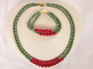 "16""""-17"""" 2rows 5*7mm green Pearl red coral necklace set"