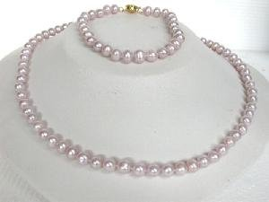 "Beautifu! 17"""" 6-7mm lavender cultured FW pearl Necklace&matching"