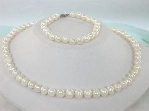 "16"""" 7-8mm white cultured freshwater pearl necklace & bracelet"