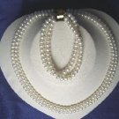 """Beautiful! 16""""""""-17"""""""" 2rows 6.5mm white cultured FW Pearl necklace&"""