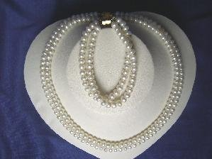 "Beautiful! 16""""-17"""" 2rows 6.5mm white cultured FW Pearl necklace&"