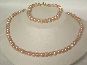 "Beautiful! 16.5"""" 5.5-6.5mm pink cultured FW pearl necklace&7"""" br"