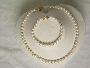 "Beautiful! 17"""" 6.5-7.5mm white cultured FW pearl necklace&7.5"""" b"