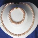"Beautiful! 17"""" 7-8mm pink A cultured FW pearl necklace&matching"