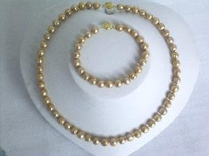 "Beautiful! 17.5"""" 7.5-8mm champagne cultured FW pearl necklace an"