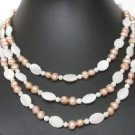 "16""""-20"""" 3rows 5-6mm pink cultured FW Pearl&shell bead Necklace"