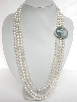 "26""""-30"""" 3rows white pearl Necklace&shell 925silver clasp"