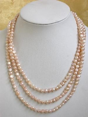 "64"""" pink cultured freshwater pearl necklace"
