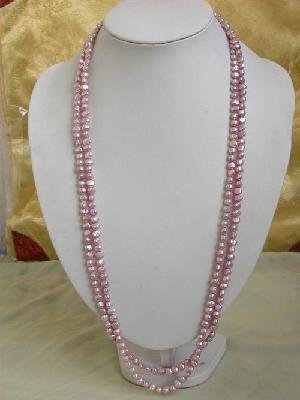 "64"""" peach cultured freshwater pearl necklace"