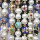 """wholesale of 8 pieces of 17"""""""" FW pearl&cloisonne beads necklace"""