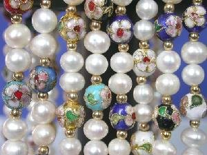 "wholesale of 8 pieces of 17"""" FW pearl&cloisonne beads necklace"