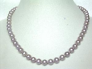 "AAAgrade! 17.5""""7-8mm purple round cultured FW pearl necklace&14K"