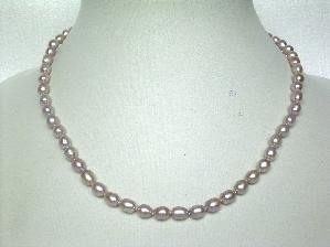 "AAAgrade!16""""purple rice shape FW pearl necklace"