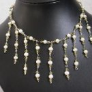 """Beatiful! 16"""""""" hand-knitted white pearl & crystal necklace"""