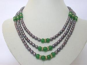 "Beautifu! 18""""-20"""" 3rows purple Pearl green jade necklace"