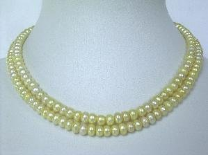 "Beautiful! 14.5""""-15"""" 2Rows 6mm yellow cultured FW pearl necklace"