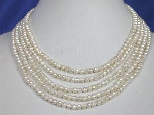 "Beautiful! 14.5""""-18.5"""" 5rows 4-4.5mm white FW pearl necklace"
