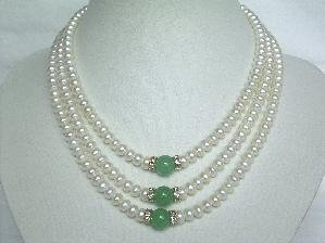 "Beautiful! 15""""-17"""" 3rows white cultured FW pearl&jade necklace"