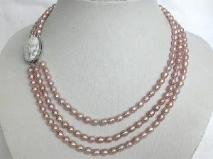 "Beautiful! 15""""-17"""" 3rows purple FW rice Pearl Necklace"
