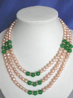 "Beautiful! 15.5-18.5"""" 3rows pinkFW pearl & jade necklace"