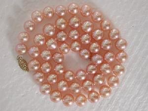 "Beautiful! 16"""" 7-8mm AAA! round pink FW pearl necklace"