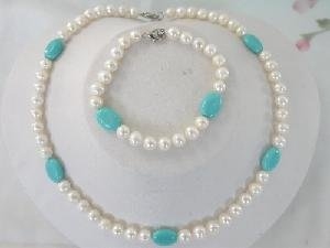 "Beautiful! 16"""" 7-8mm white FW Pearl and Turquoise Necklace set"