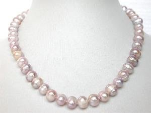 "Beautiful! 16"""" 7.5-8.5mm purple cultured FW pearl necklace"