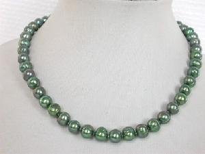 "Beautiful! 16"""" 7.5-8.5mm round green FW pearl necklace"