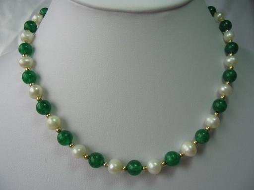 "graceful 17.5"""" Malaysia jade pearl necklace"