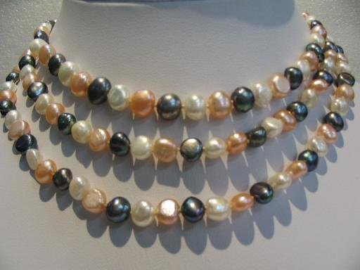 "47"""" super lustrous white-pink-blak FW pearl necklace"